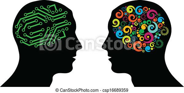 cerveau, différent, têtes - csp16689359