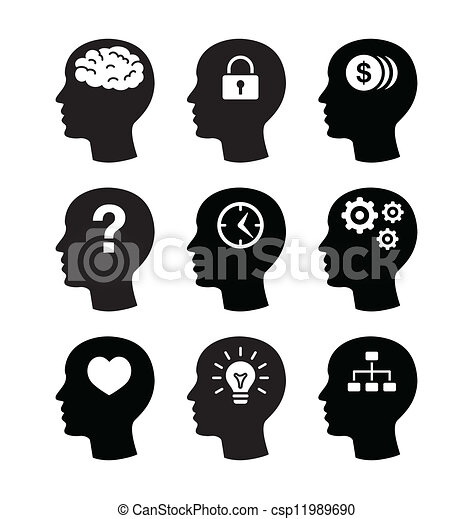 cerveau, diriger ensemble, vecotr, icônes - csp11989690
