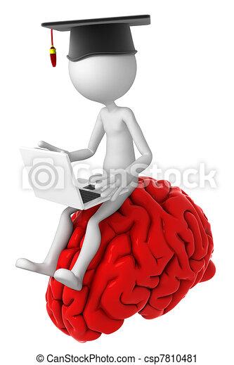 cerveau, ordinateur portable, sommet, étudiant, séance - csp7810481