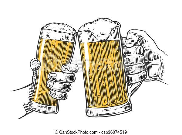 cerveja dois assalte segurar passa vidros clinking gravura