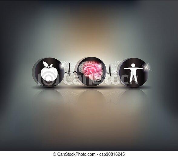 cervello, simbolo, brughiera, cura - csp30816245