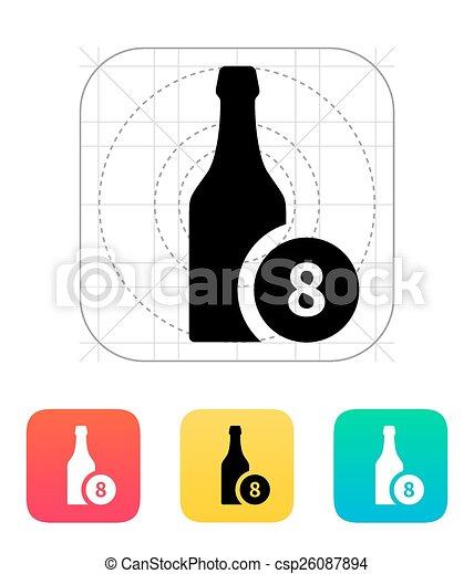 Botella de cerveza con icono número. - csp26087894