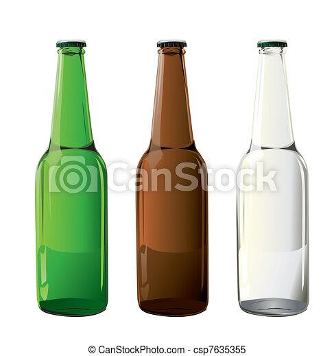 cerveza, vector, botellas - csp7635355