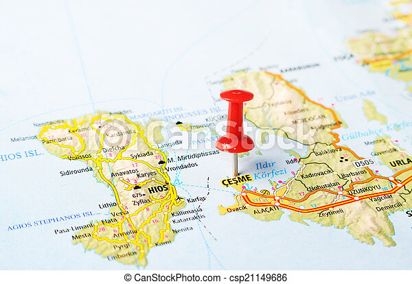 Cesme turkey map Close up of cesme turkey map with red