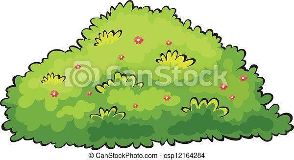 Cespuglio Verde Cespuglio Bianco Sfondo Verde Illustrazione