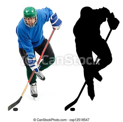 c'est, silhouette, hockey, glace, joueur - csp12518547
