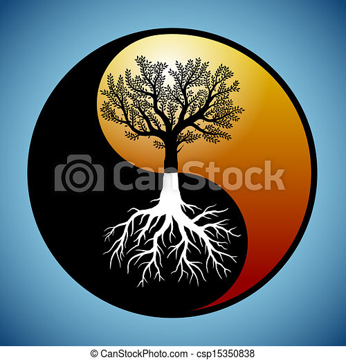 c'est, symbole, yin, arbre, yang, racines - csp15350838