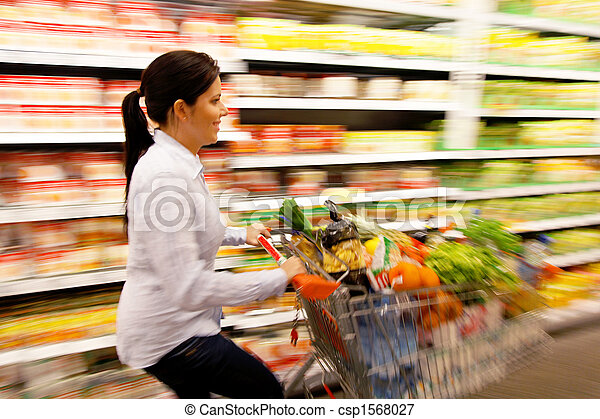cesta, compras de mujer, supermercado - csp1568027