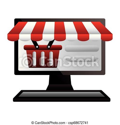 Comprando en internet una canasta de ordenador - csp68672741