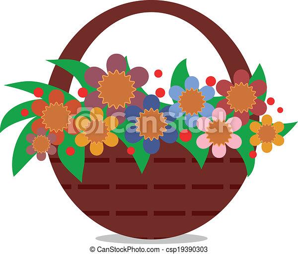 cesta, flores - csp19390303