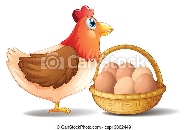 La gallina madre y una canasta de huevos - csp13062449