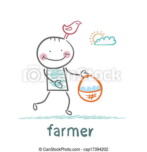 Farmer lleva una canasta de huevos - csp17394202