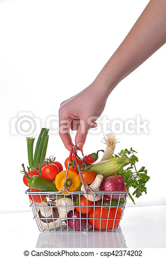 cesta, legumes frescos, cheio, shopping - csp42374202
