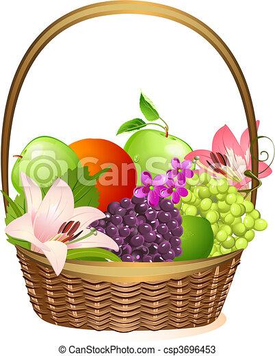 Una Canasta De Frutas Con Flores