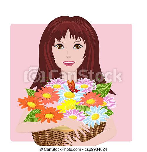 Chica con cesta de flores - csp9934624