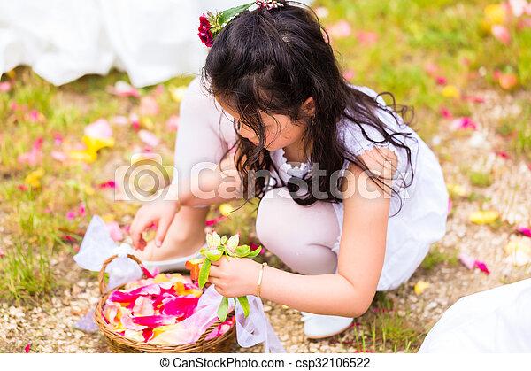 cesta, pétala, flor, damas honra, casório - csp32106522