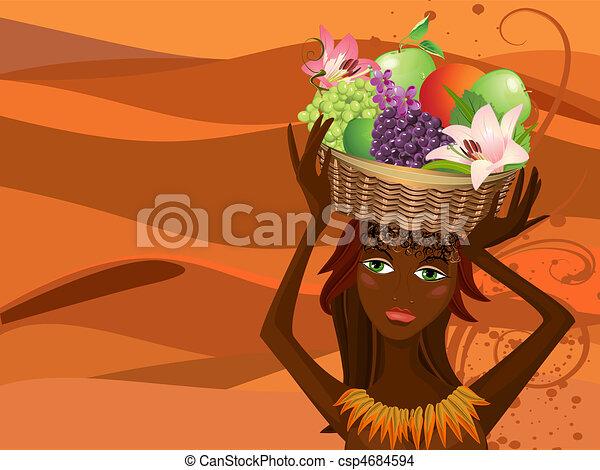 Retrato de un nativo con una cesta de fruta - csp4684594