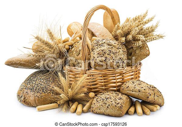 Canasta con una variedad de pan aislada en blanco - csp17593126