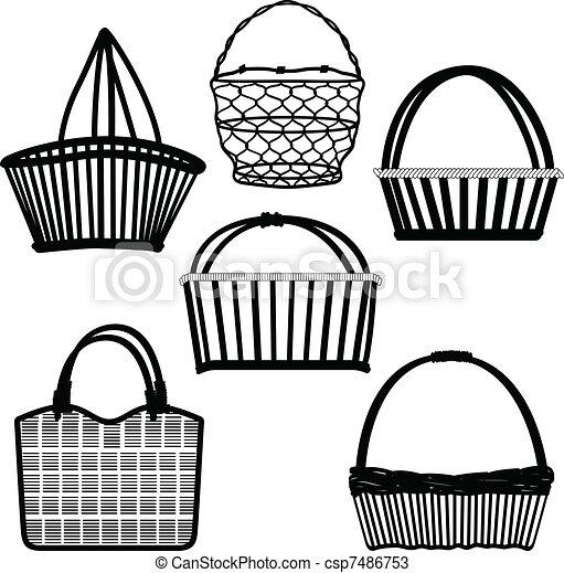 cesto, borsa, contenitore, metallico, legno - csp7486753
