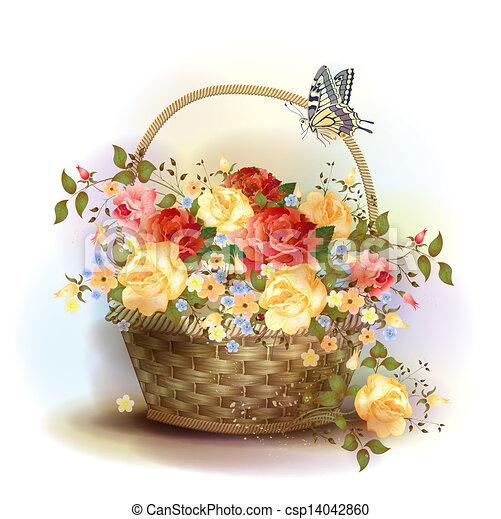 cesto, vimine, vittoriano, roses., style. - csp14042860