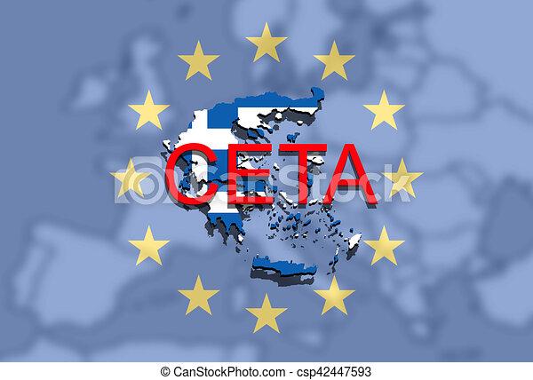 Ceta Comprehensive Economic And Trade Agreement On Euro Background