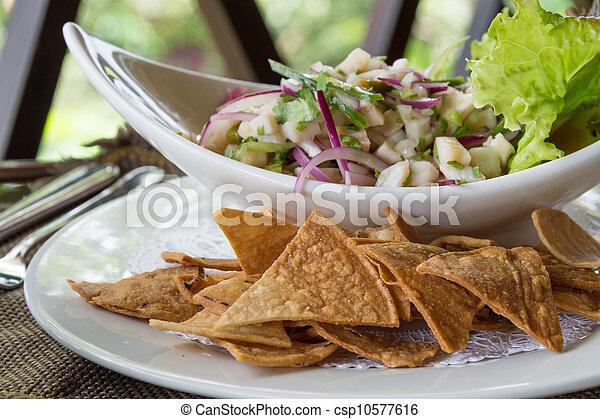 Ceviche with Nachos - csp10577616