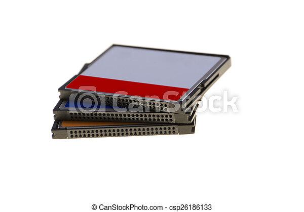Tres tarjetas de memoria CF aisladas en antecedentes blancos - csp26186133