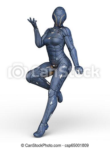 3D CG Rendering von Cyborg-Frau - csp65001809