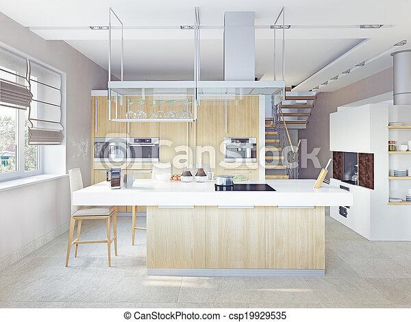 (cg, moderne, concept), cuisine, intérieur - csp19929535