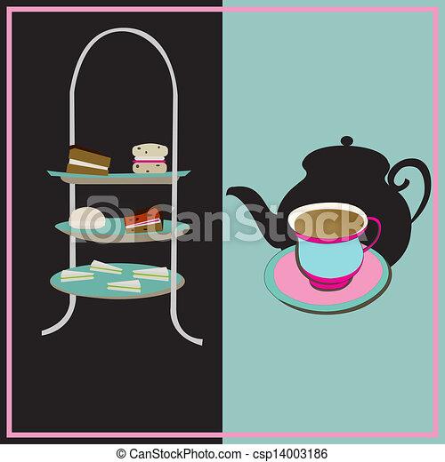 chávena, fundo, vindima, tea-party, vetorial, chá tarde, cake-stand, retro - csp14003186