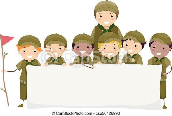 chłopiec, dzieciaki, stickman, ilustracja, wywiadowcy, chorągiew - csp56426998