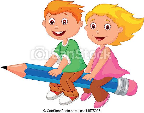 chłopiec, dziewczyna, przelotny, rysunek, pe - csp14575025