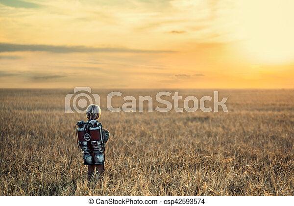 chłopiec, plecak - csp42593574