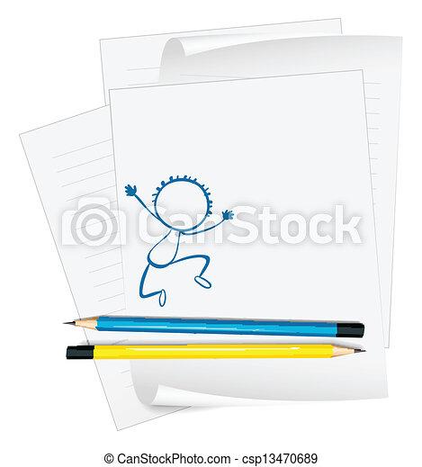 chłopiec, rys, papier, młody, taniec - csp13470689