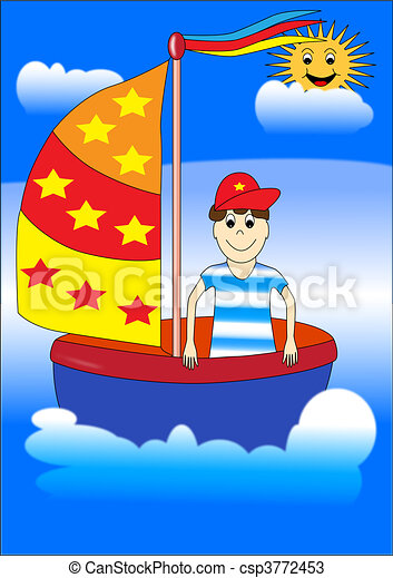 chłopiec, statek - csp3772453