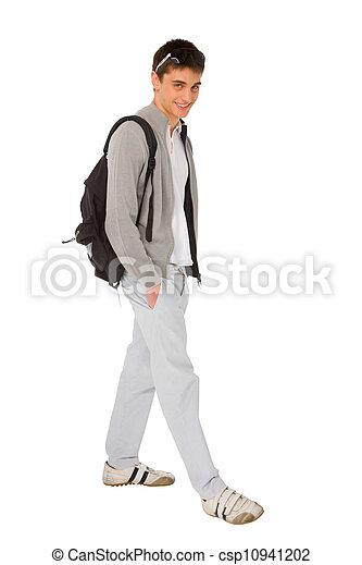 chłopiec, teenage, plecak - csp10941202
