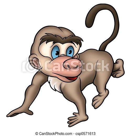 Chuze Opice Detailni Chuze 01 Opice Ilustrace Barevny Silny