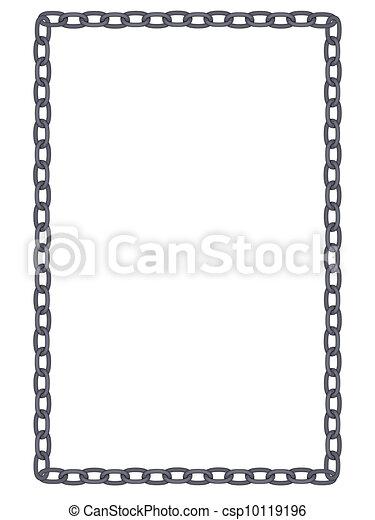 chaîne, simple, uni, cadre, métal, isolé - csp10119196