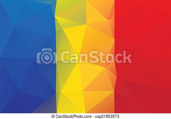 Chad Flag Triangular Polygonal Pattern Vectors Illustration - Chad flag