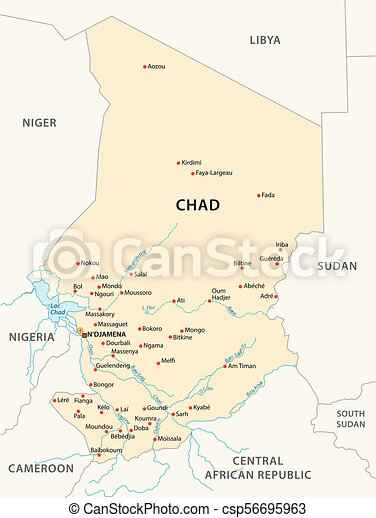 Chad map. Republic of chad vector map, africa. Chad Africa Map on