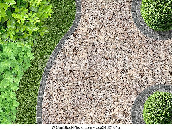 chaff path in the garden - csp24821645