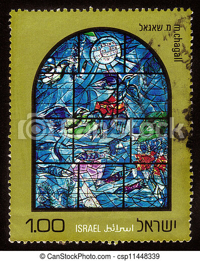 Chagall Windows - 12 Tribes of Israel  . Reuven - csp11448339