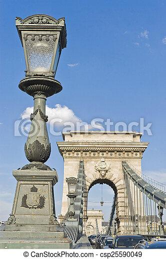 Chain Bridge at Budapest, Hungary - csp25590049