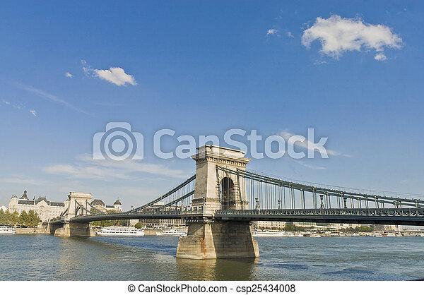 Chain Bridge at Budapest, Hungary - csp25434008