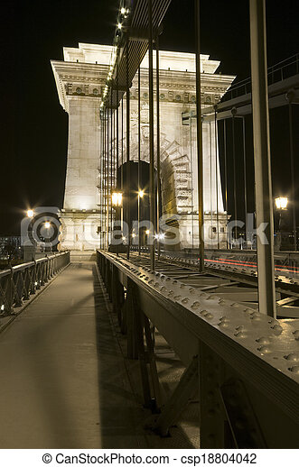 Chain Bridge detail by night - csp18804042
