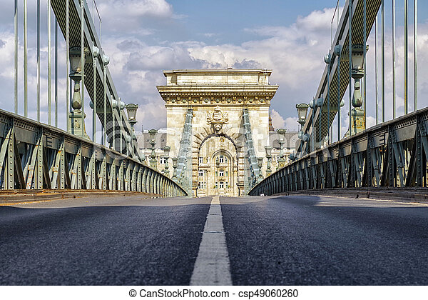 Chain bridge in Budapest, Hungary - csp49060260
