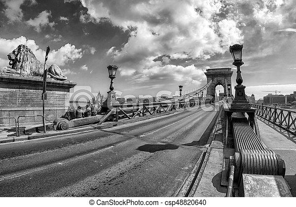 Chain bridge in Budapest, Hungary - csp48820640