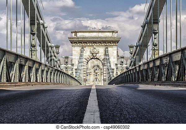 Chain bridge in Budapest, Hungary - csp49060302