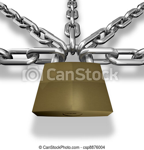 Chain closed with a lock. - csp8876004