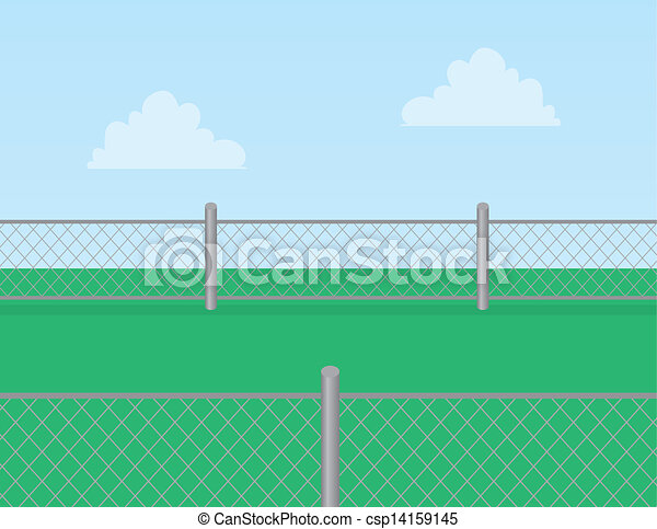 Chain link fence grass. Chain linked fence in grassy field.